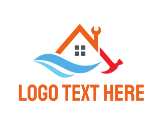 Carpentry - House Tool Wave logo design