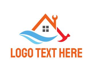 Carpentry - House Tool Wave logo design