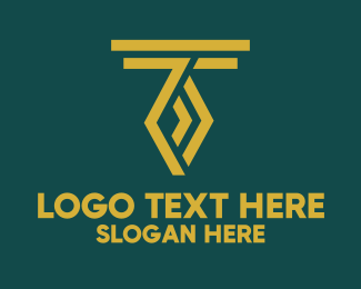 Illusion - Golden Letter T logo design