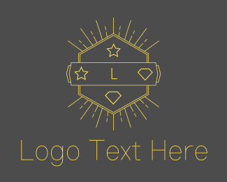 Burst - Yellow Hipster Hexagon Emblem logo design