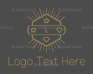 Emblem - Yellow Hipster Hexagon Emblem logo design