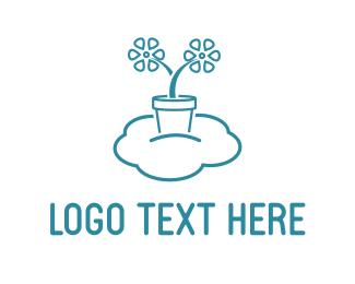Florist - Flying Flower Pot logo design