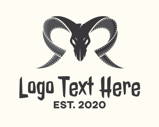 Gnome - Ram Skull Filmstrip logo design