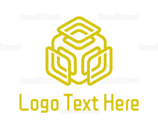 Producer - Yelllow Audio Cube logo design