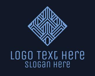 Accommodation - Blue Geometric Tile Hotel logo design