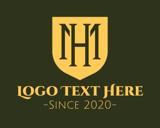 Sg - Medieval Monogram Shield M & H logo design