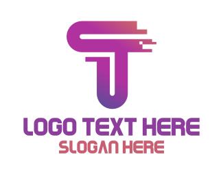 Quick - Pixel T Stroke  logo design