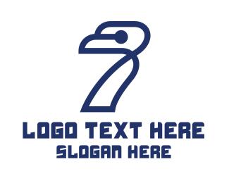 Seventh - Modern Bird Number 7 logo design