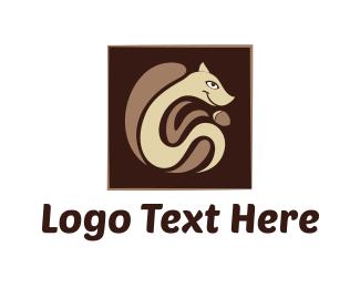 Chipmunk - Squirrel & Nut logo design