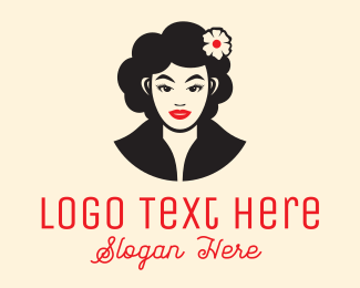 Glamorous - Beautiful Curly Woman logo design