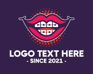 Funny - Happy Smile Braces Lips logo design