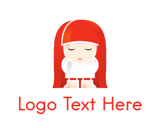 Redhead - Red Hair Cartoon Girl logo design