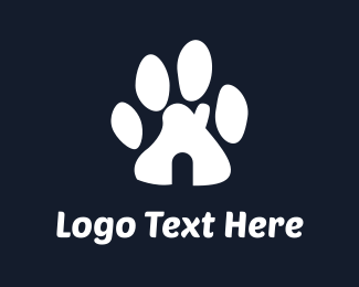 White Puppy - Paw House logo design