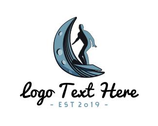 Sporting Goods - Surf Moon Wave logo design