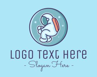 Space Ship - Cute Night Astronaut  logo design