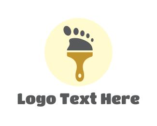 Orthopedic - Foot Painting Paintbrush logo design