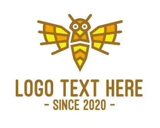 Wasp - Mosaic Yellow Wasp logo design
