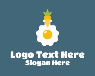 Yolk - Carrot Egg Flask logo design