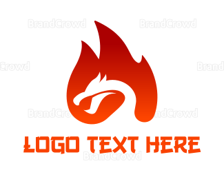 China - Red Fire Dragon logo design