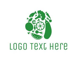 Eggplant - Green Food logo design