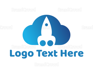 Cloud Drive - Blue Rocket Cloud logo design