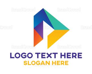 Advertising - Geometric D Polygon logo design
