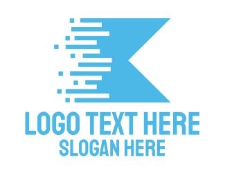 Motor Sports - Blue Digital Flag logo design