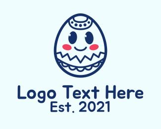 April - Cute Easter Egg Mascot  logo design