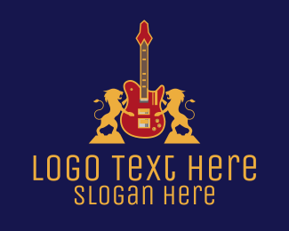 Band - Luxury Lion Guitar logo design