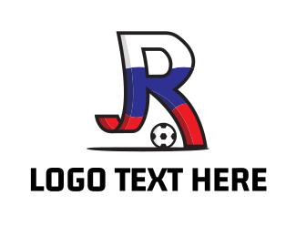 Football Player - Letter R Soccer logo design