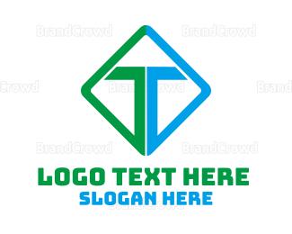 Typography - Green Blue Diamond T logo design