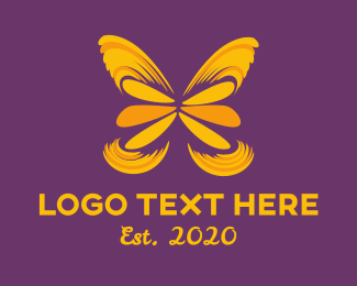 50s - Butterfly Yellow Art logo design