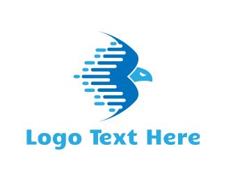 Courier - Fast Blue Eagle logo design