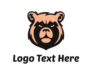 Teddy Bear - Peach Bear Face logo design