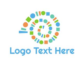 Seashell - Geometric Snail logo design