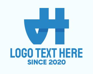 Letttermark - Blue Monogram JH logo design