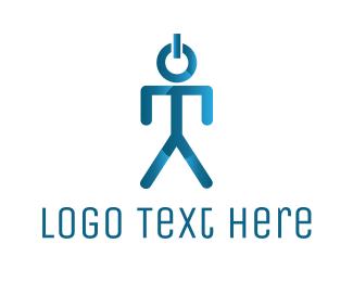 Power Supply - Blue Power Button Man logo design