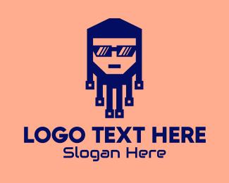 Geek - Cool Computer Geek logo design