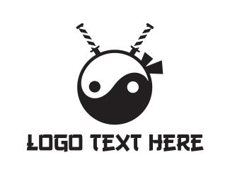 Samurai - Yin Yang Ninja logo design