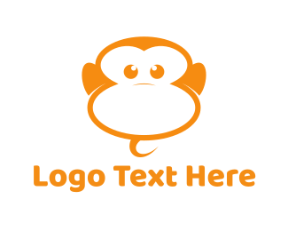 Chimp - Orange Monkey logo design