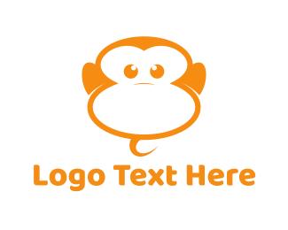 Chimpanzee - Orange Monkey logo design