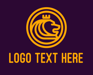Crown - Golden Royal Lion logo design