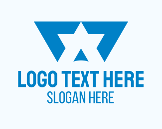 Best - Blue Star Letter A logo design