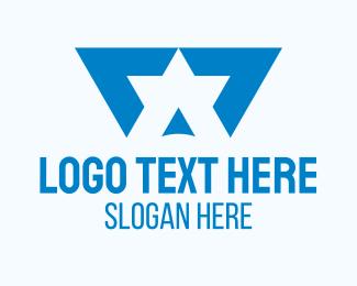 Rank - Blue Star Letter A logo design
