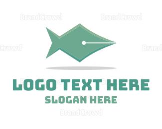 Calligraphy - Fish Pen logo design