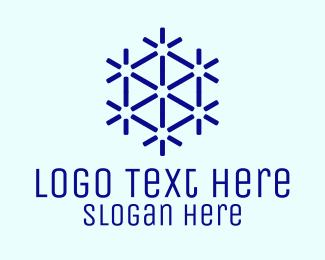 Infinity Symbol - Blue Hexagon Pattern logo design