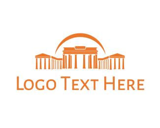 Temple - Orange Greek Temple logo design