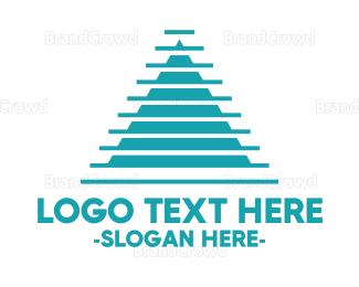 Egyptian - Modern Blue Pyramid logo design