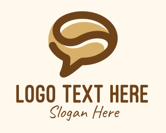 Social Media - Brown Coffee Bean Chat logo design