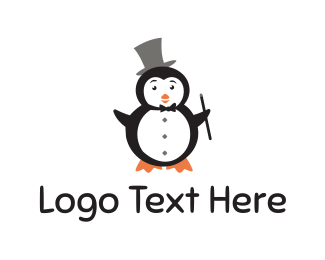 Magic Wand - Magician Penguin logo design